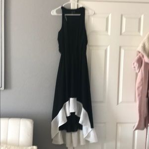 Black and White High Low Bottom Ruffle Dress Large